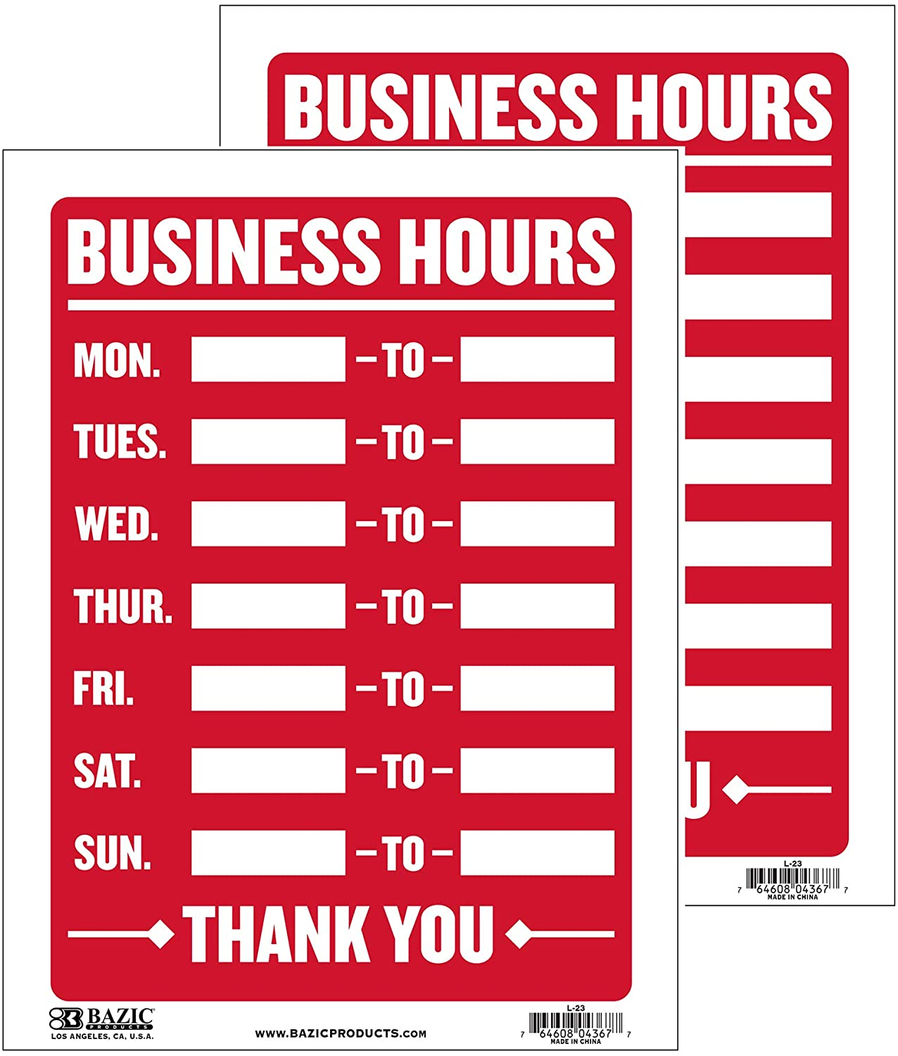 BAZIC 12 X 16 Business Hours Sign, Open Closed Signs for Business Store Office Door Window Restaurants Bars Retail Salon Shops, 2-Pack