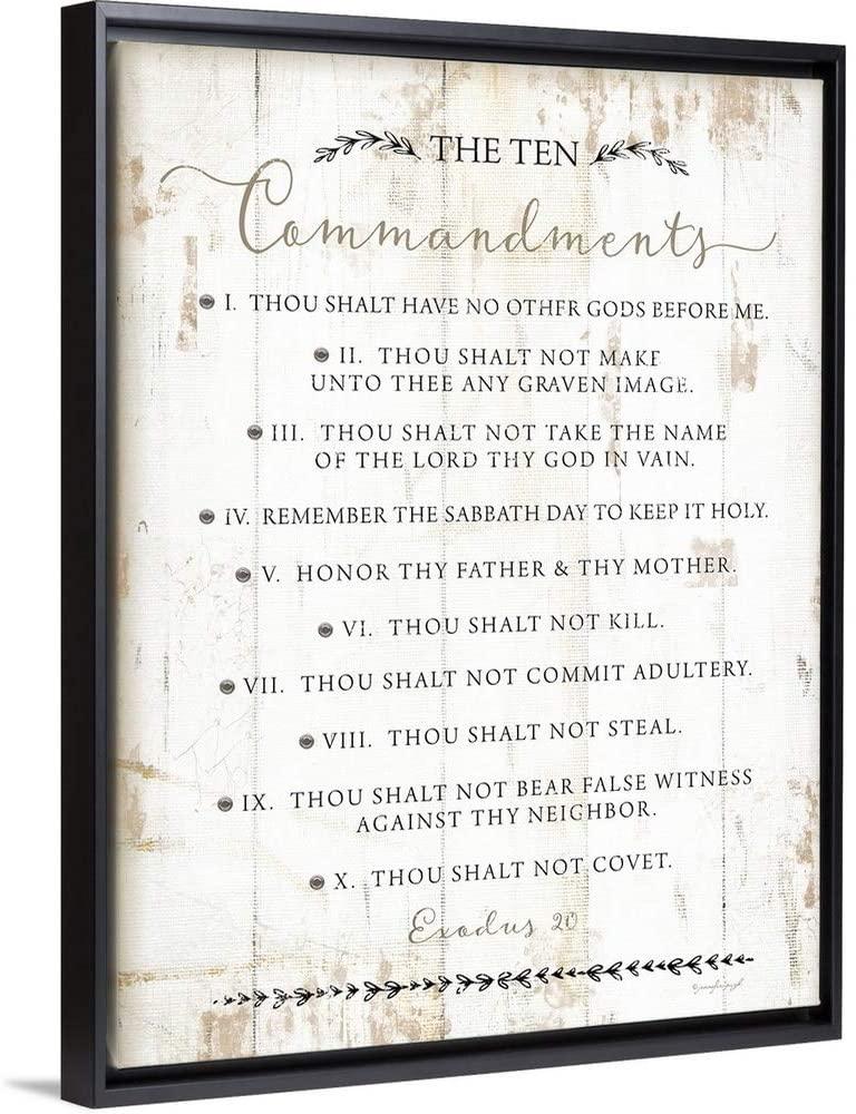 The Ten Commandments Black Float Frame Canvas Art, 32x42x1.75