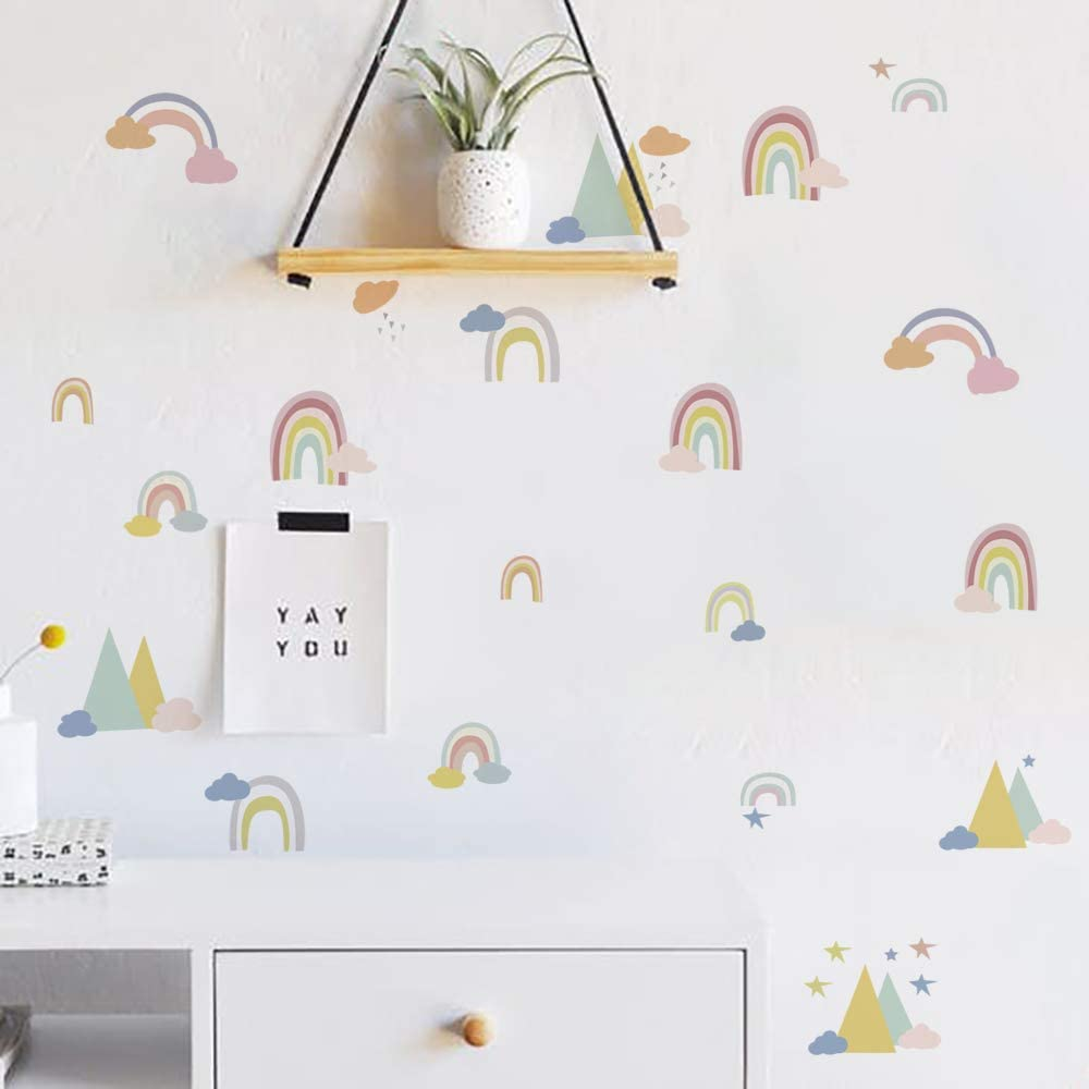 Runtoo Rainbow Wall Decal Colorful Love Wall Art Stickers for Kids Bedroom Living Room Baby Nursery Wall Décor