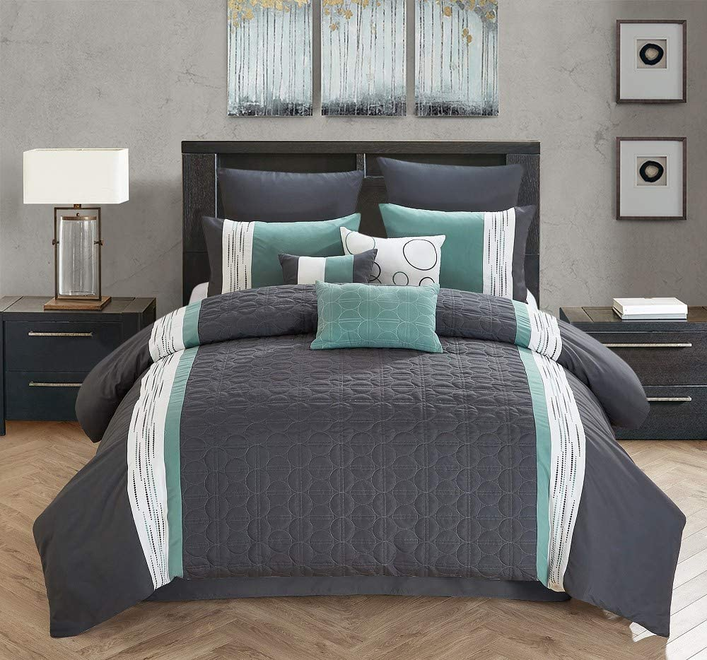 All American Collection New 7 Piece Embroidered Over-Sized Comforter Set (Queen, Dark Grey/Teal)
