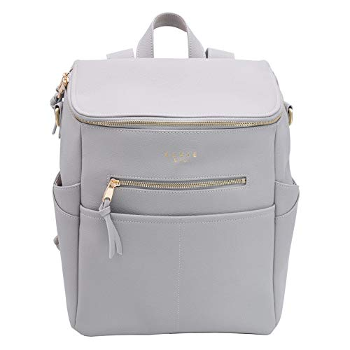 Elkie + Co. Baby Vegan Leather Diaper Bag for Mom I Modern, Minimalist, Chic Design (Stone)