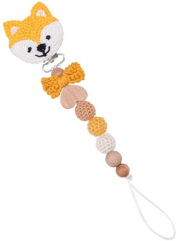 Soft Fox Shape Universal Pacifier Clip Colorful Crochet Beads Smooth Clip with Butterfly Bead Baby Safe Sensory Toys Baby Nursing Accessories Teething Pain Relief