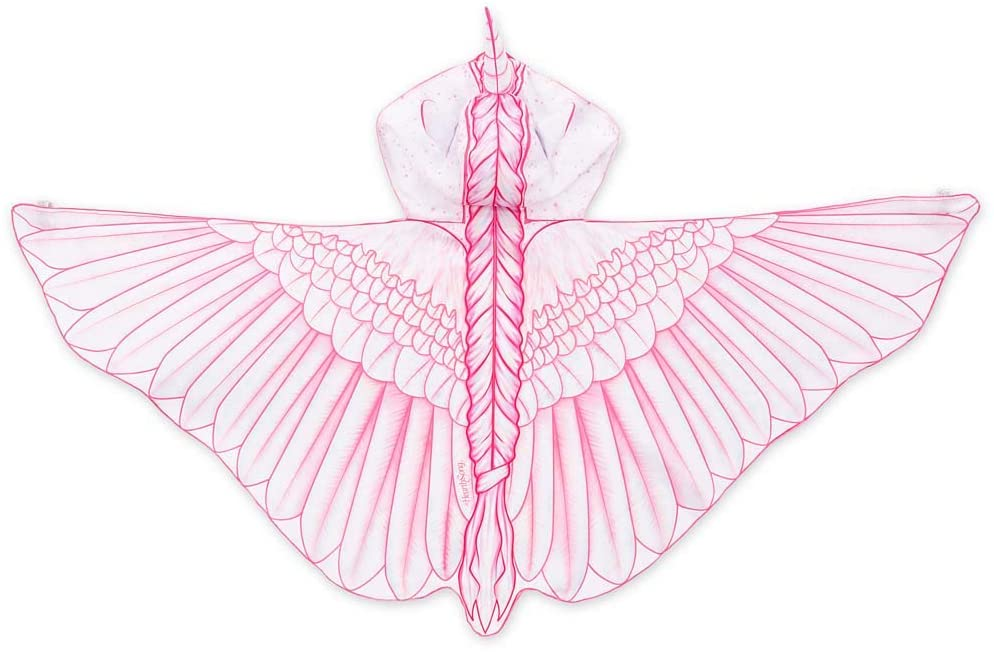 HearthSong Fabric Unicorn Wings for Kids Dress Up Imaginative Play, 46 Wingspan