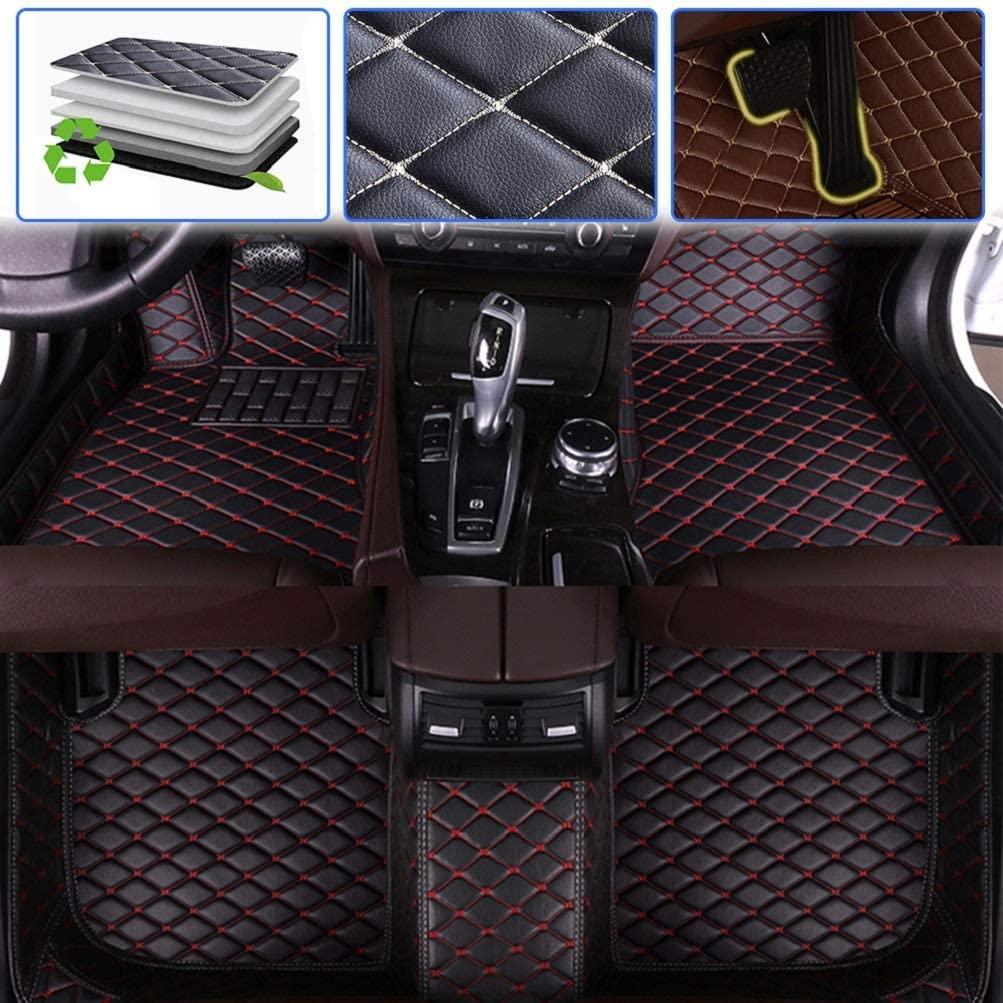 SureKit Custom Car Floor Mats for Infiniti QX70 2013 2014 2015 2016 2017 Luxury Leather Waterproof Anti-Skid Full Coverage Liner Front & Rear Mat/Set (Black red)
