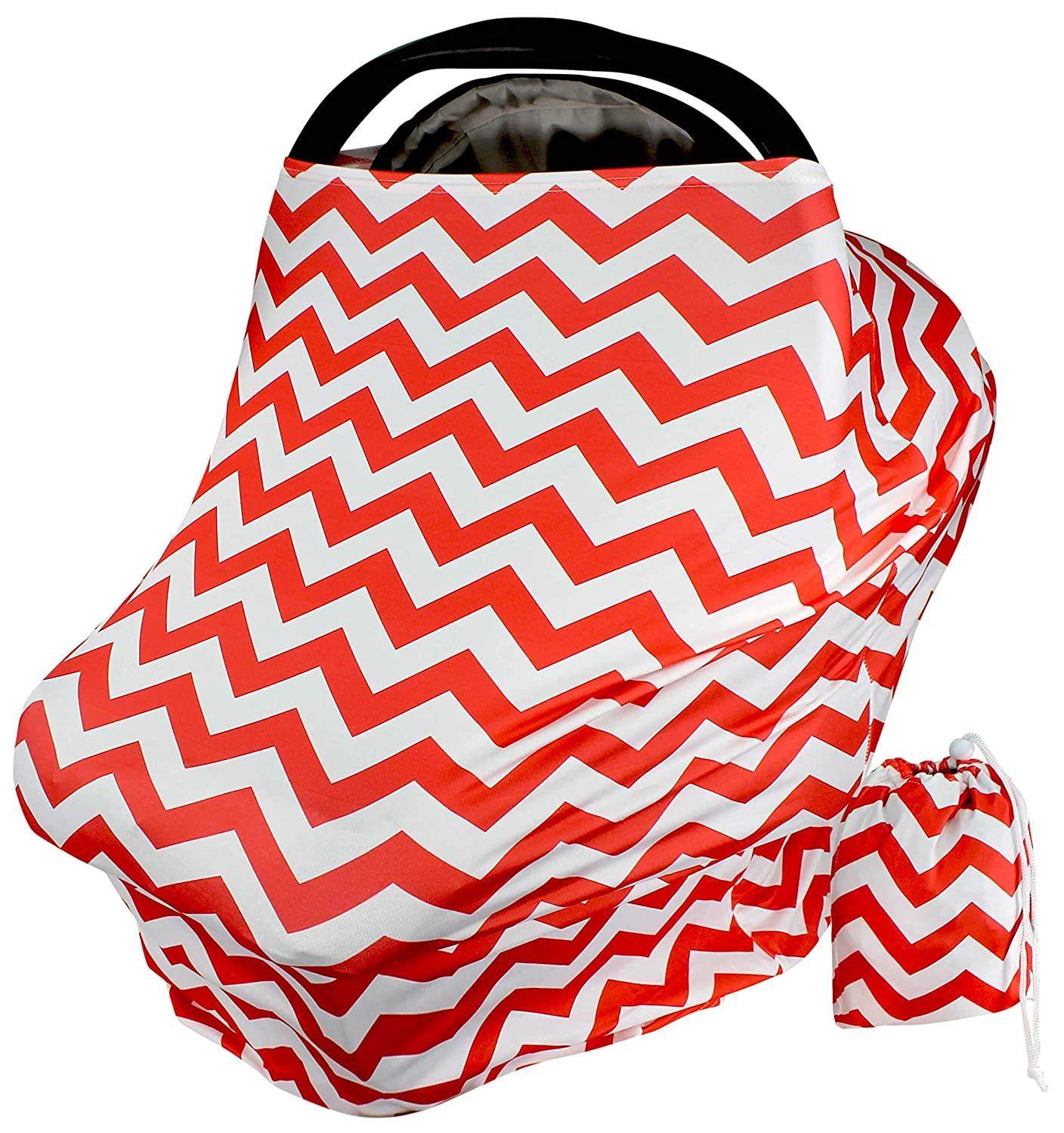 Car Seat Covers for Babies - Red Zig Zag