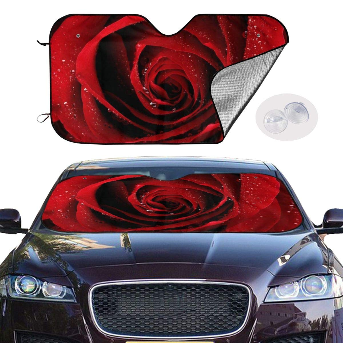 Red Rose Raindrop Car Sunshade Window Windscreen Cover,Automotive Window Protector Sunshade Uv Sun and Heat Reflector for Car Truck SUV,Keep Your Vehicle Cool and Damage Free
