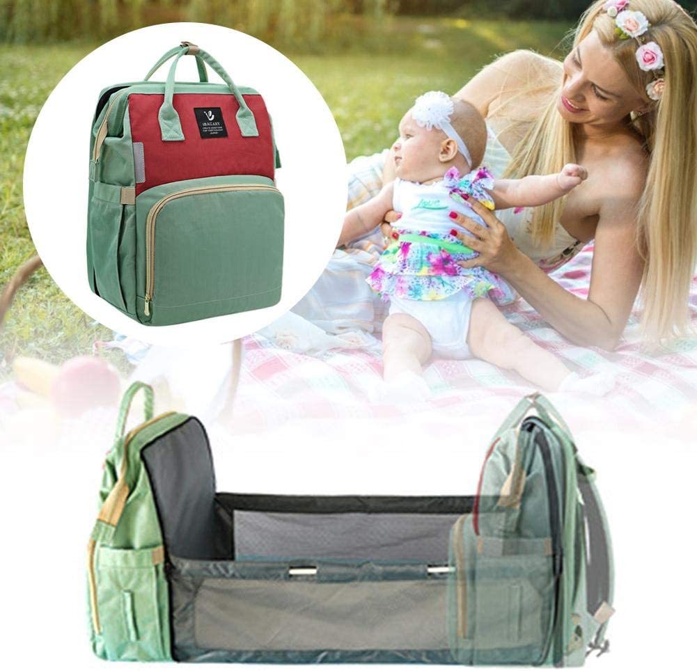 Portable Baby Bag and Bed, 3-in-1 Multifunctional Baby Diaper Bag Changing Station Travel Bassinet, Folding Crib Nursery Backapack