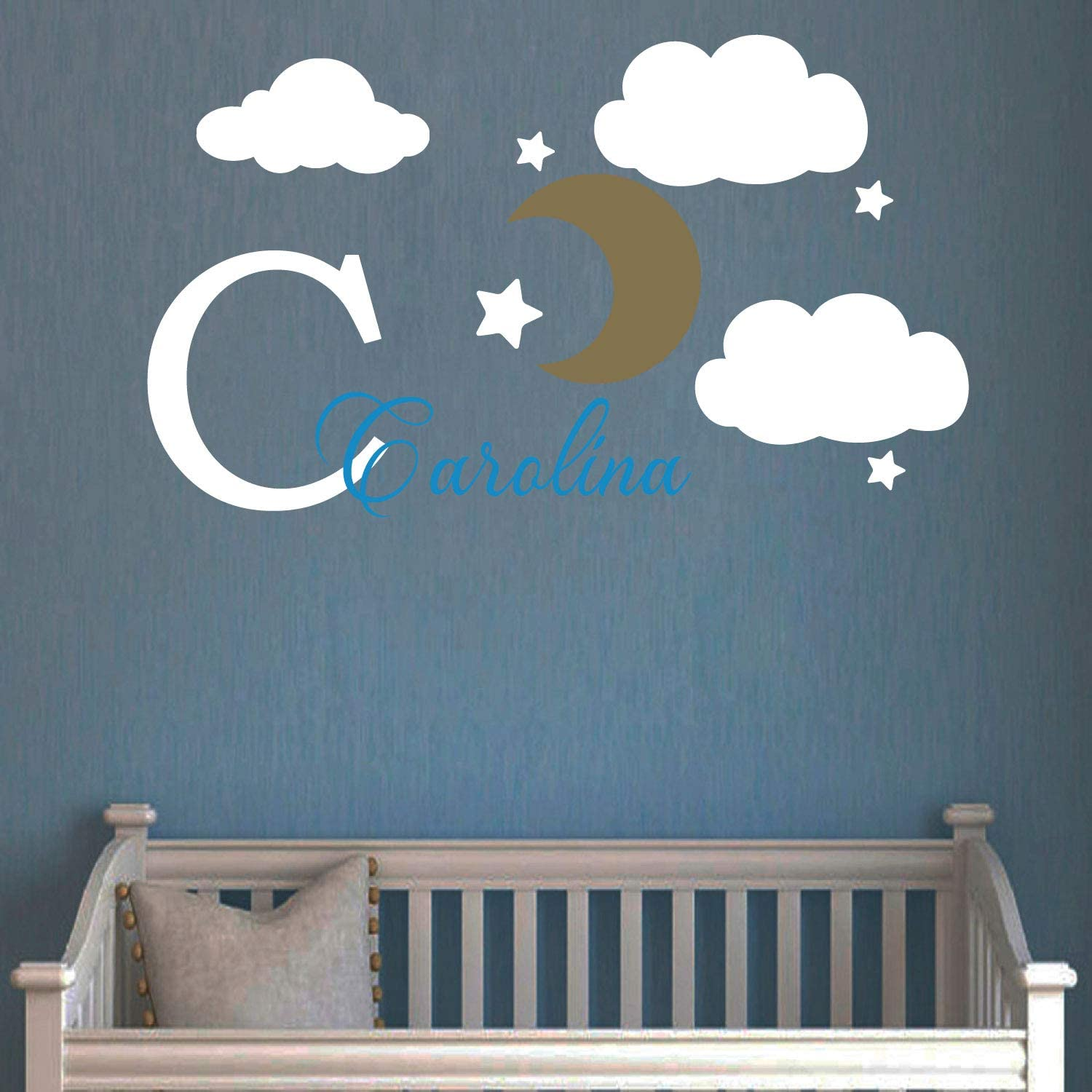 Custom Name & Initial Stars Clouds Baby Boy and Girl Nursery Wall Decal Vinyl Sticker for Home Bedthroom Decor ND (Medium W 32