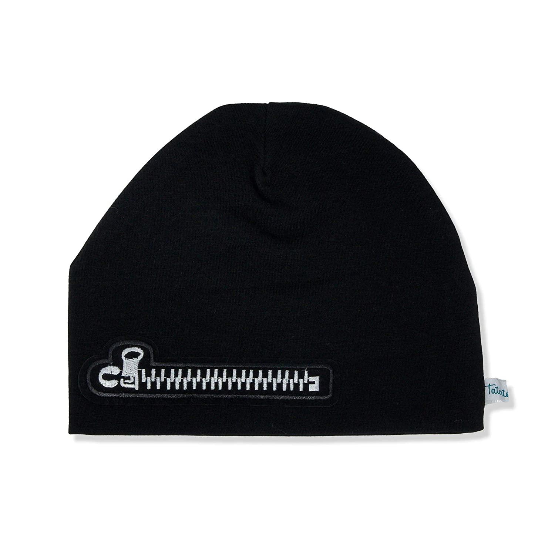 Tatertots 100% Cotton Black Beanie for Newborn 0-3 Months, Warm Soft Woven Baby Hat with Faux Zipper Applique