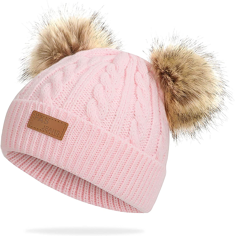 Baby Winter Warm Knit Hat Infant Toddler Kid Crochet Fur Hairball Beanie Cap