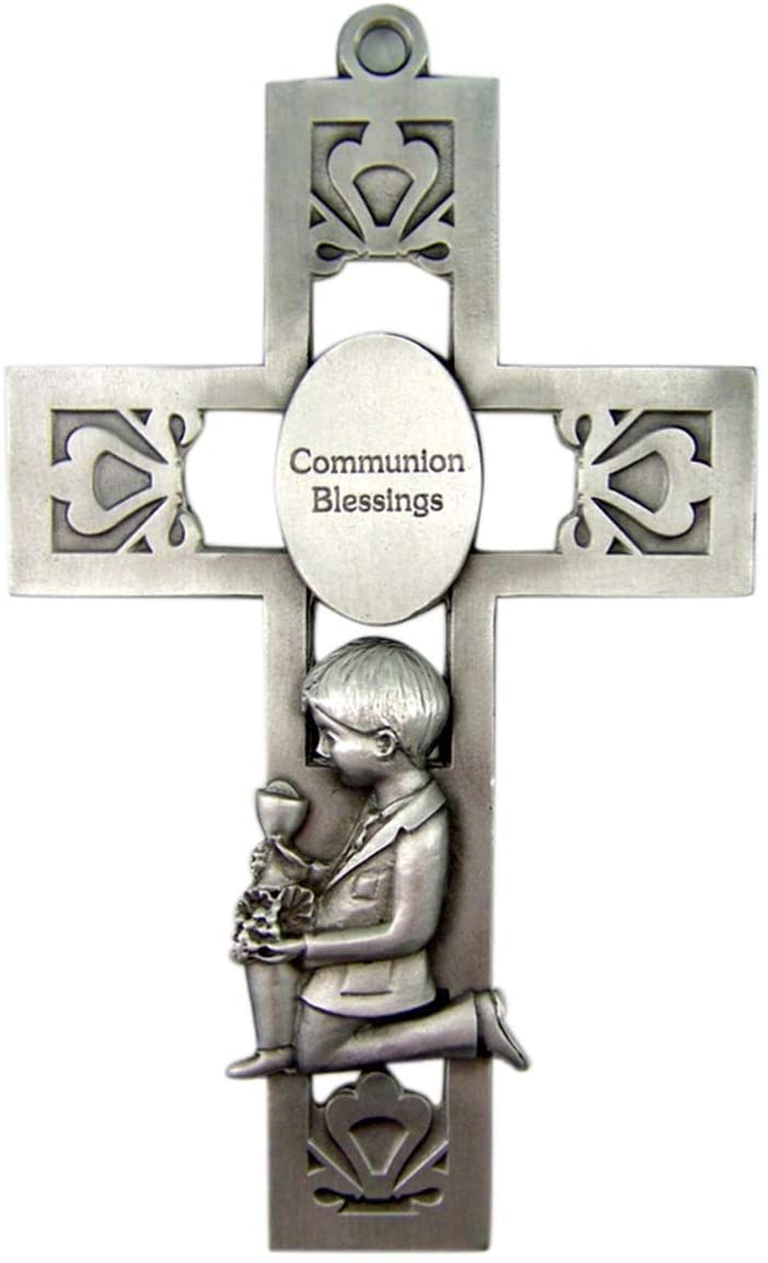 Silver-Toned Pewter Boy Communion Blessings Medal Hanging Wall Cross, 5 1/4 inches