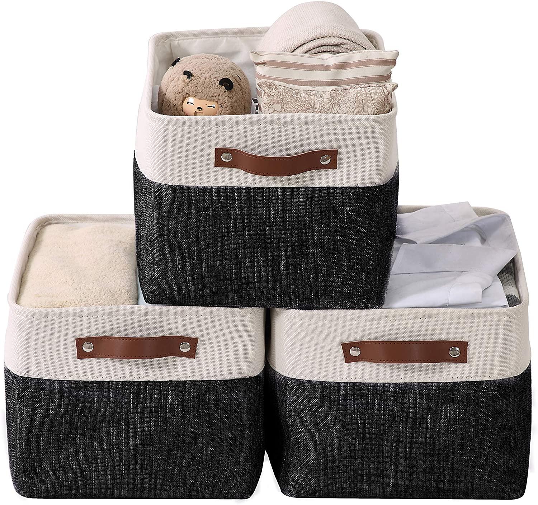 DECOMOMO Foldable Storage Bin | Collapsible Sturdy Cationic Fabric Storage Basket Cube W/Handles for Organizing Shelf Nursery Home Closet (Black and White, Large - 15 x 11 x 9.5)