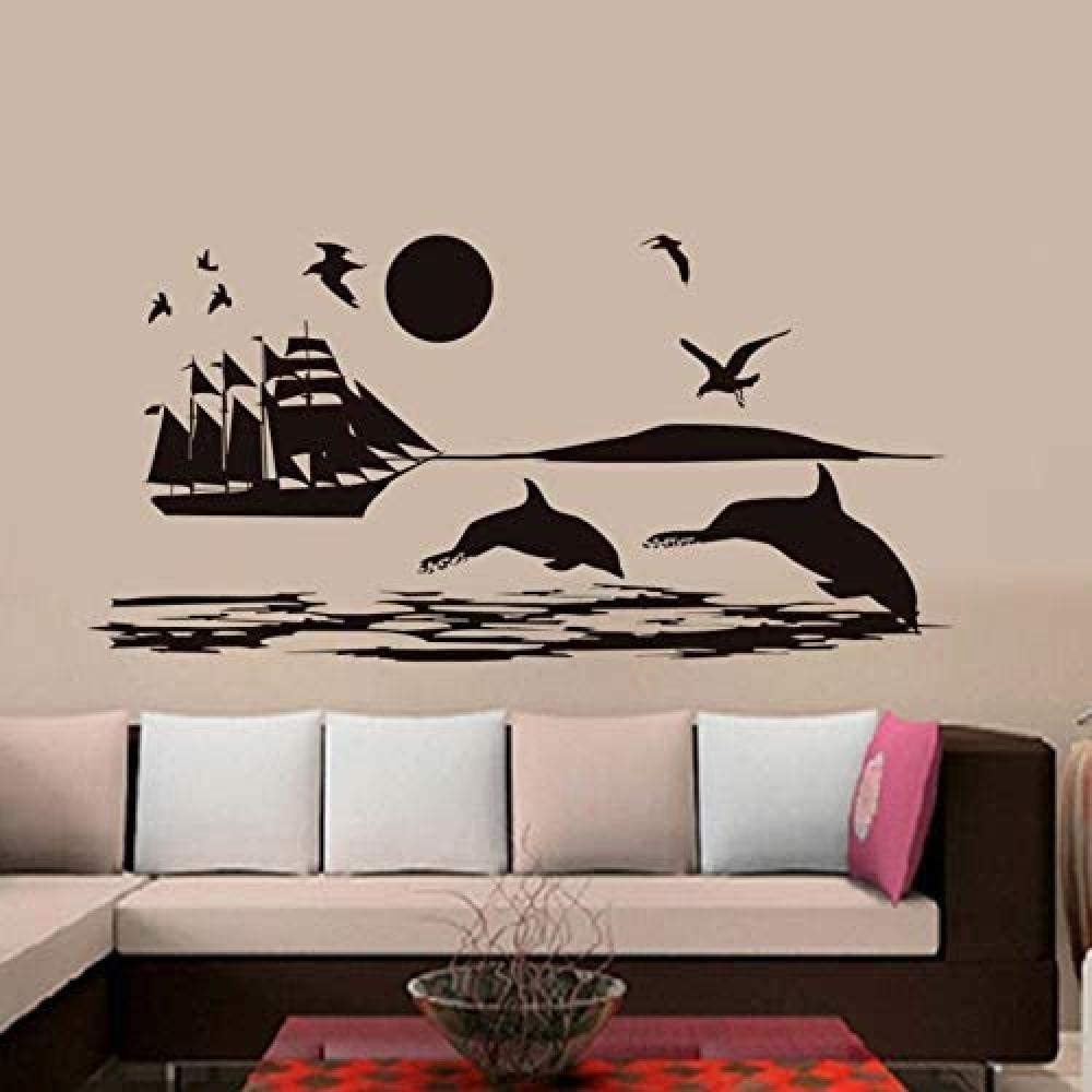 xcdfr Bedroom Seagulls Shark Ship on The Sea Wall Stickers for Kids Room Scenery Decoration Mural Vinyl Removable DIY Wall Decals Home Decor118X58 cm