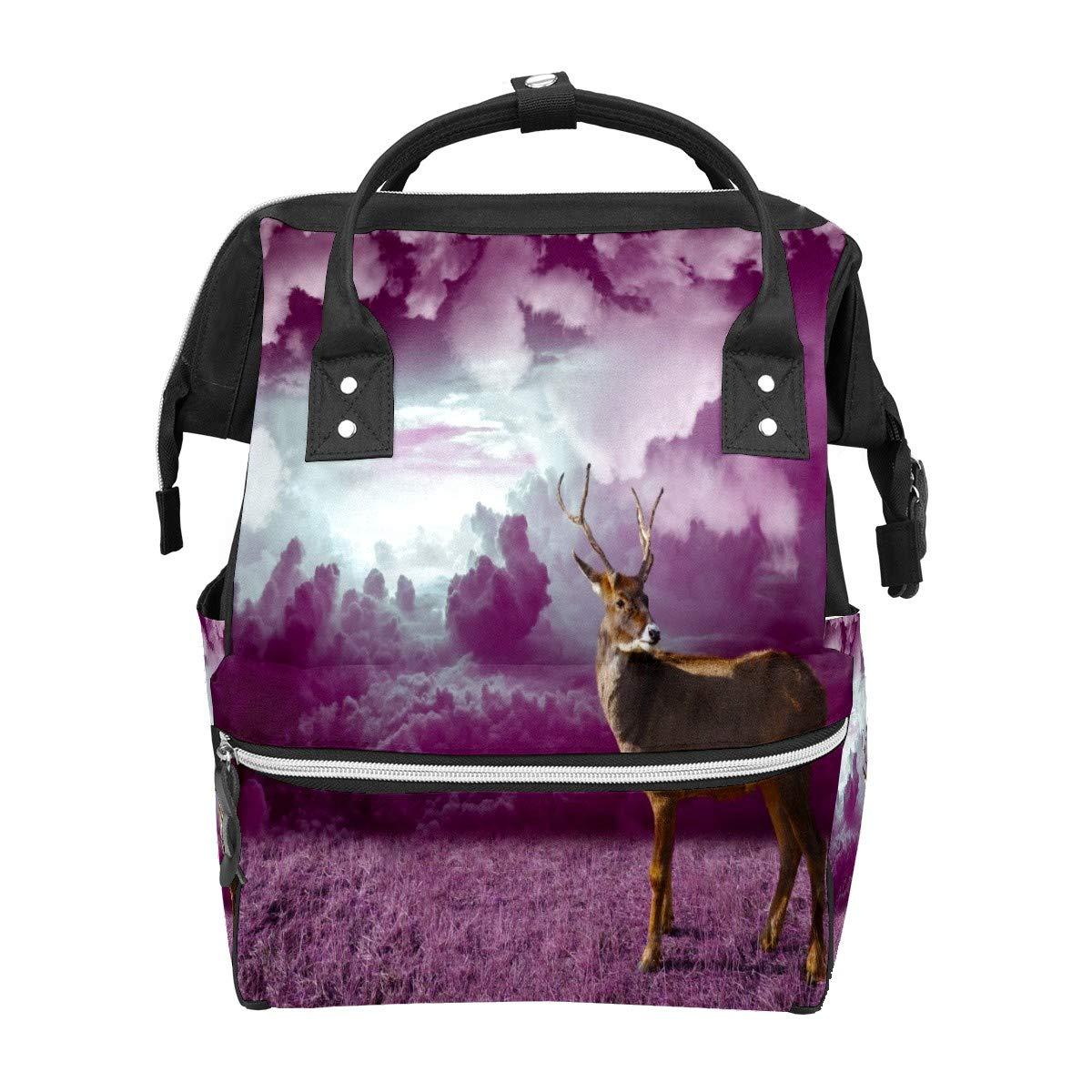 Diaper Bag Backpack Reindeer Winter Christmas Deer Multifunction Travel Back Pack Baby Changing Bags Large Capacity Waterproof Stylish