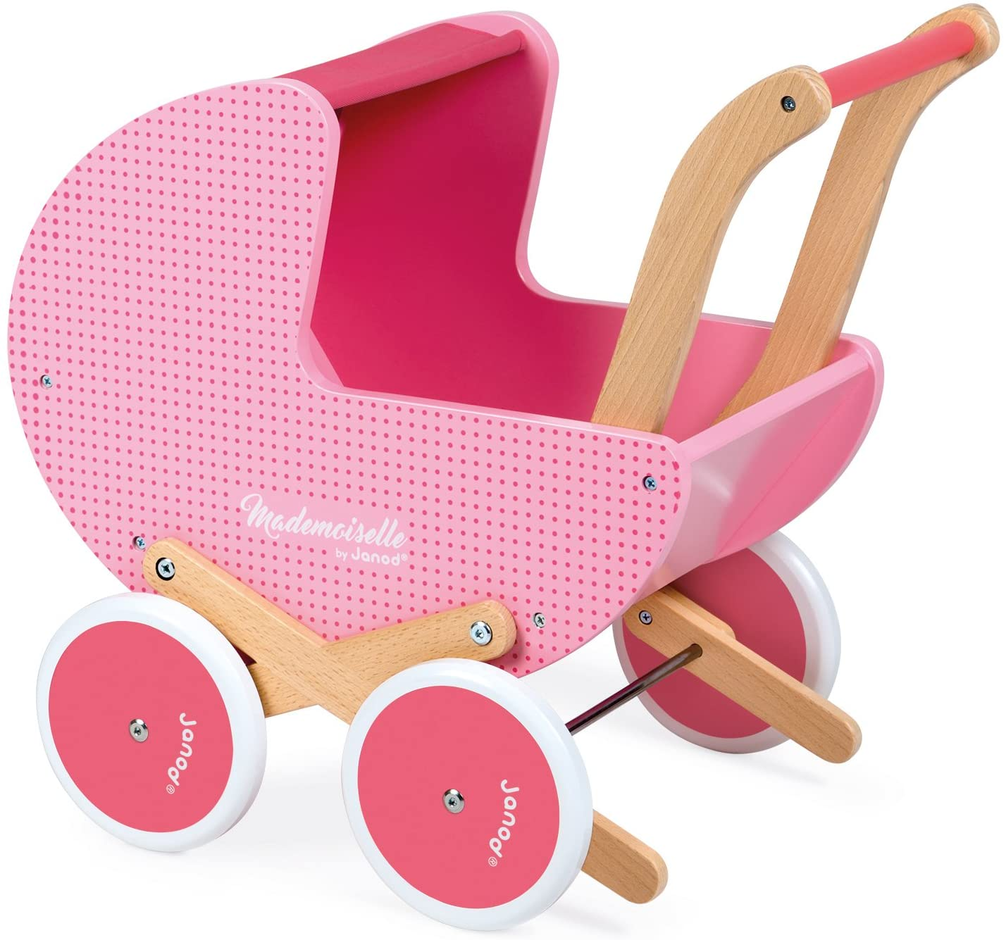 Janod Mademoiselle Classic Wooden Doll Pram – Stroll Everywhere with Dolls Up to 16 inches – Develops Role Play and Imaginative Skills – Ages 3+ years