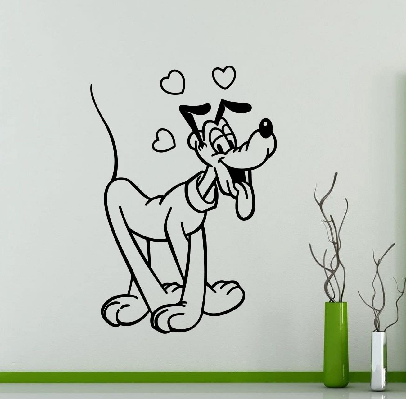 Pluto Wall Decal Mickey Mouse Cartoon Disney Vinyl Sticker Home Nursery Room Interior Art Decoration Any Kids Girl Boy Room Mural Waterproof Vinyl Sticker (480xx)