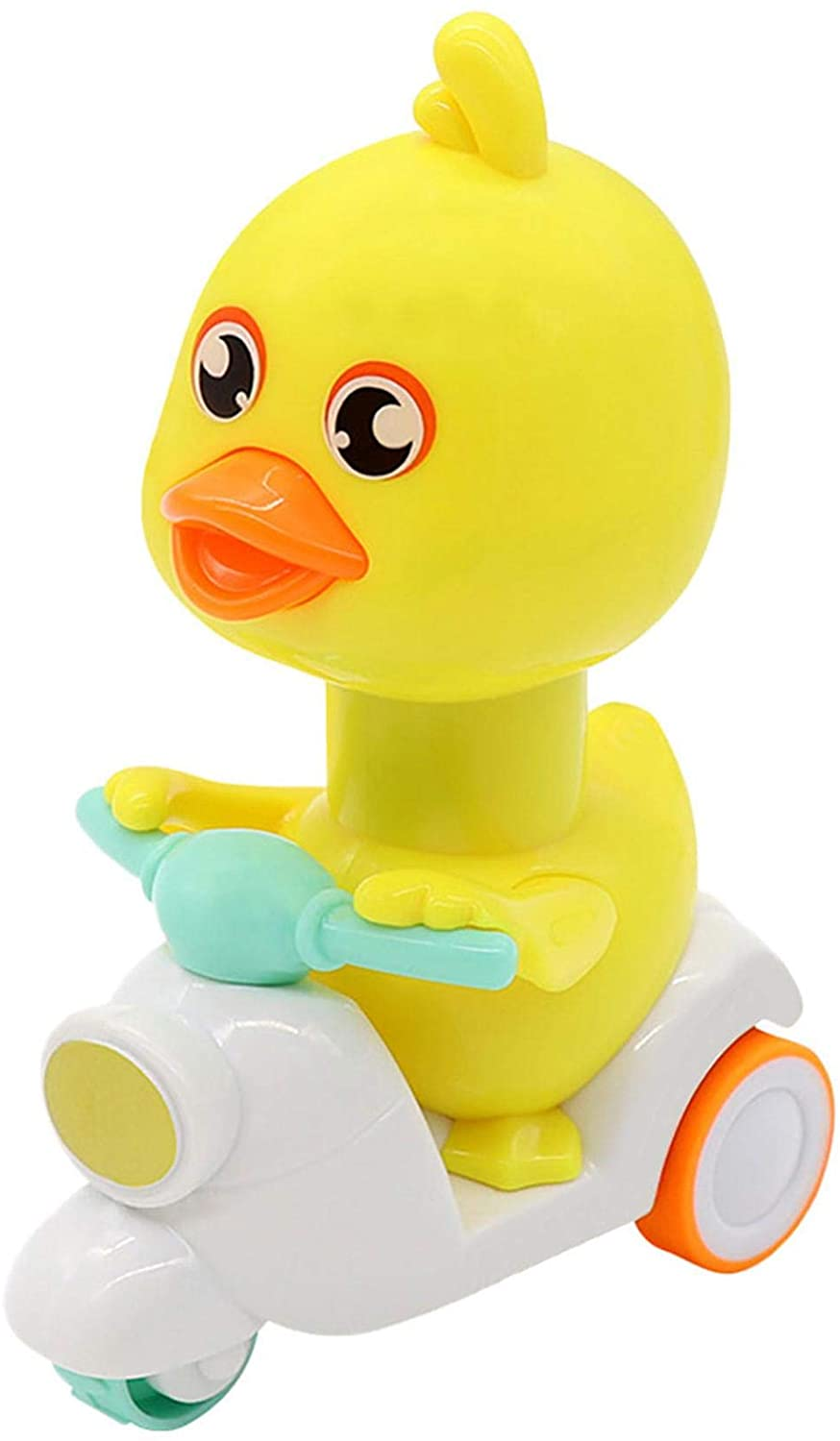 Press Pull Back Cars for Kids - Little Yellow Duck Push and Go Friction Powered Motorcycle, Preschool Christmas Birthday Party Gifts for Boys & Girls - Friction Powered Vehiclels Cars Toy (Green)
