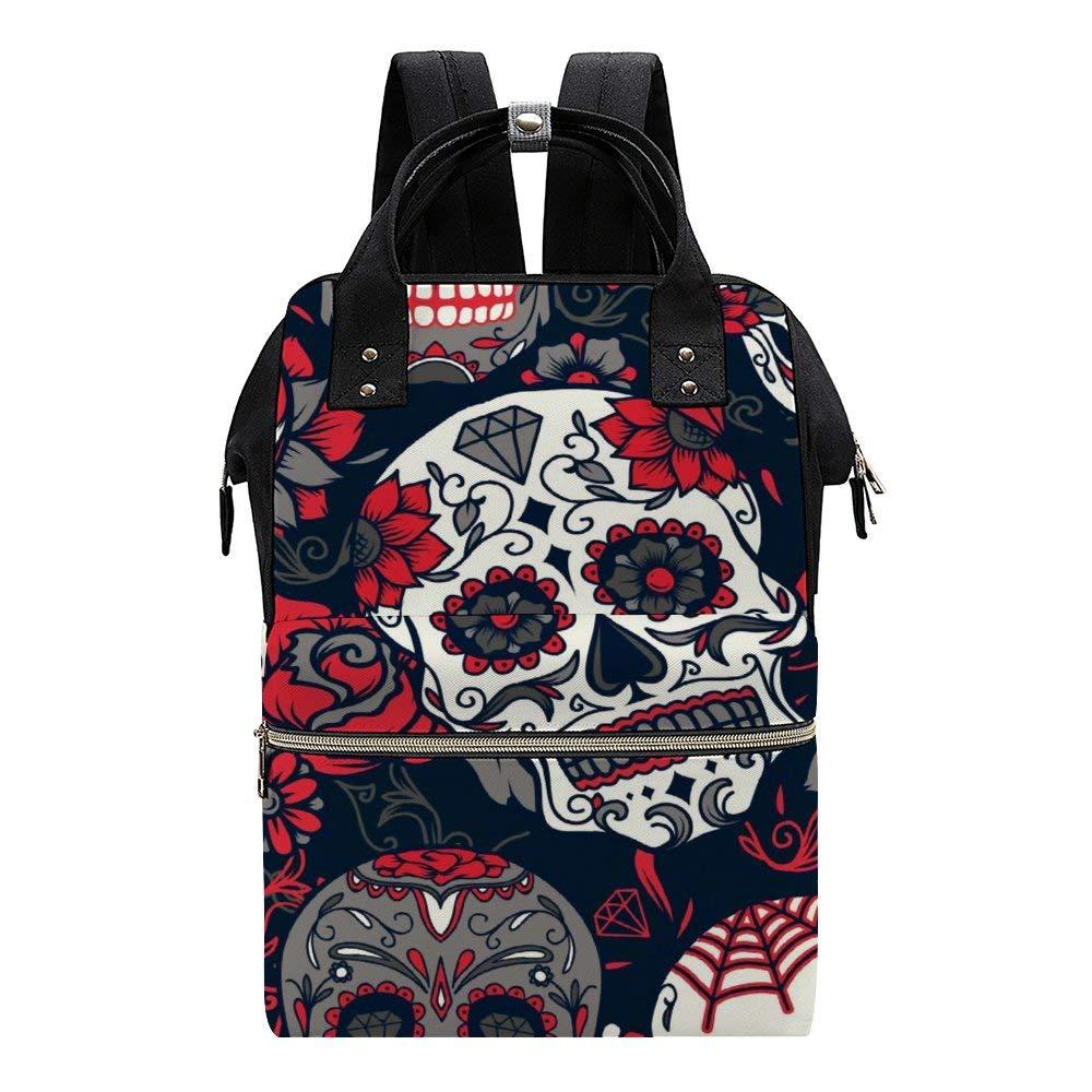 Pink Sugar Skull Flowers Diaper Bag Backpack Baby Nappy Changing Bags Multifunction Waterproof Travel Back Pack