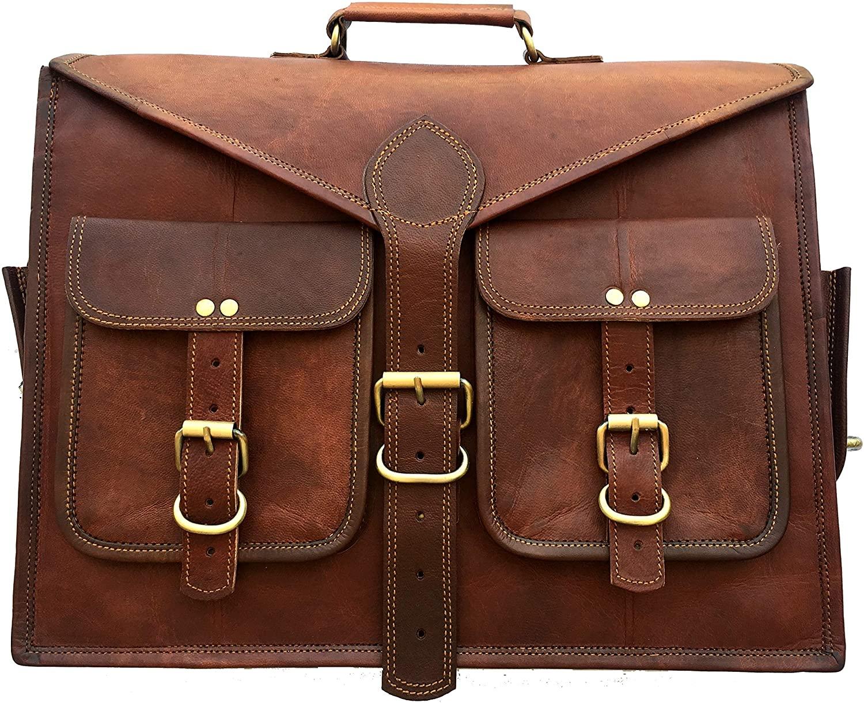 Aura Creations Leather Laptop Messenger Bag Briefcase Office Bag men brown Best Vintage Goat Leather Satchel bag