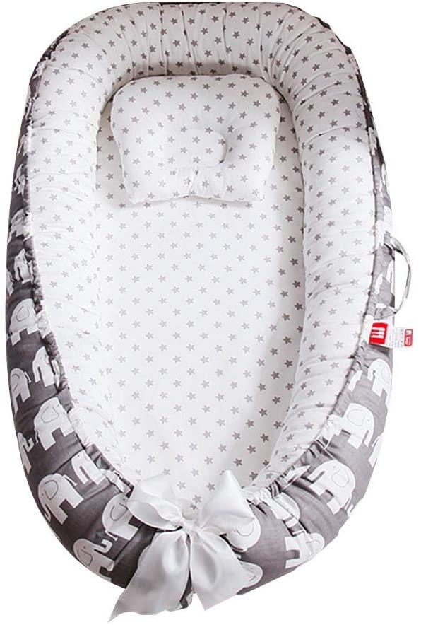 VASTAIR Baby Lounger Foldable Newborn Sleeper Breathable Co-Sleeping Bassinet Portable Travel Infant Bed Crib Baby Nests Portable Sleeping Baby Bed(Elephant)