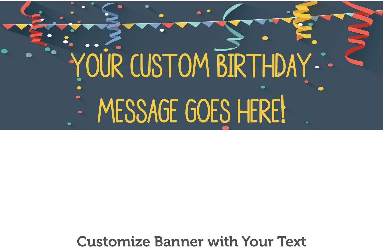 HALF PRICE BANNERS |Custom Birthday Streamers Vinyl Banner-Indoor/Outdoor 2X6 foot-Blue|Includes Zip Ties|Easy Hang Sign-Made in USA