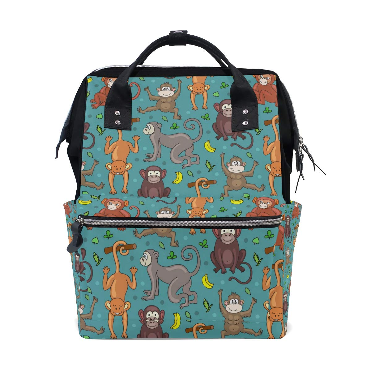 MERRYSUGAR Mommy Bag Diaper Bag Baby Bag School Backpack Monkey Green Banana Large Multifunction Travel Bag Mommy Bag