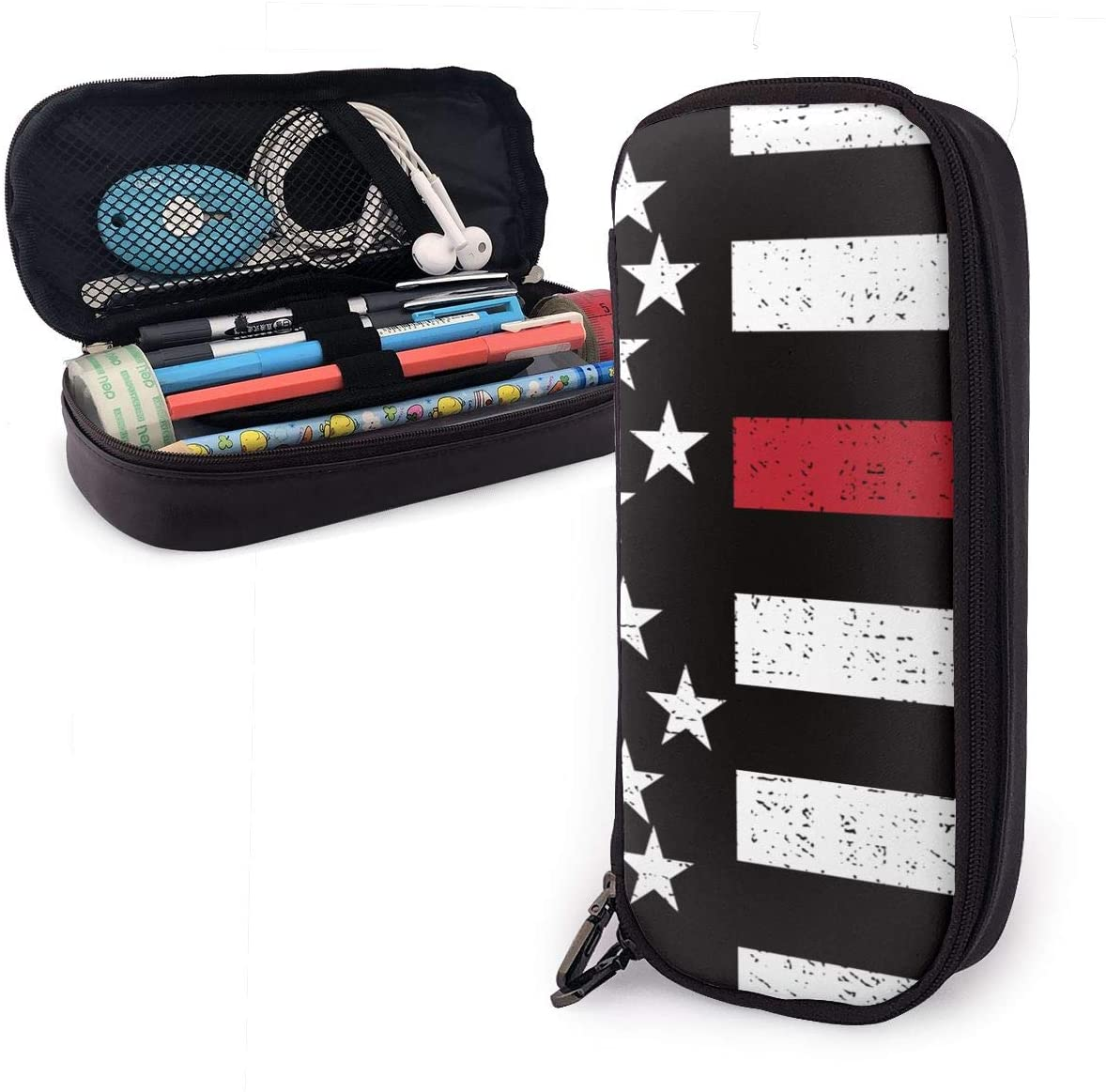 NiYoung American Red Line Flag Art Pencil Bag Pen Case, Students Stationery Pouch Zipper Pencil Box for Pens, Pencils Drawing Painting Children - Big Capacity Cosmetic Bag