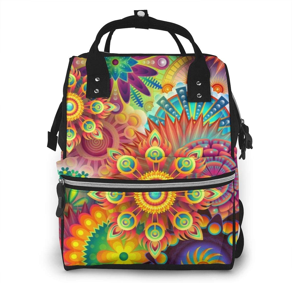 NiYoung Diaper Bag Backpack,Stylish Baby Nappy Bags for Mom and Dad,Waterproof,Multi-Function Travel Back Pack for Boys and Girls,Large Capacity and Durable,Psychedelic Trippy Mandala Flower