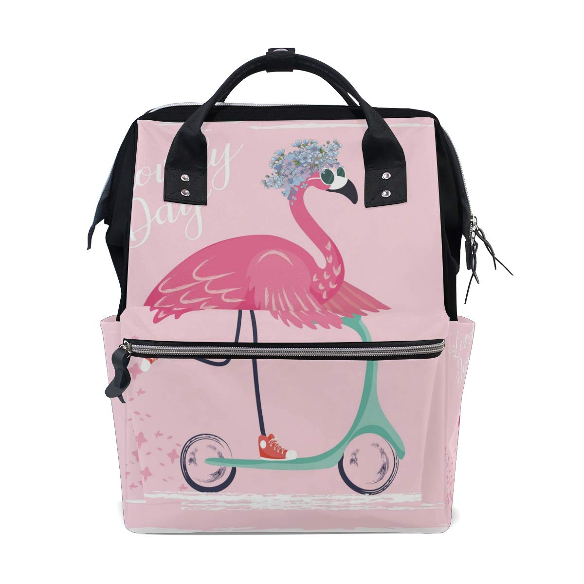 MERRYSUGAR Diaper Bag Backpack Flamingo Pink Multifunction Travel Bag