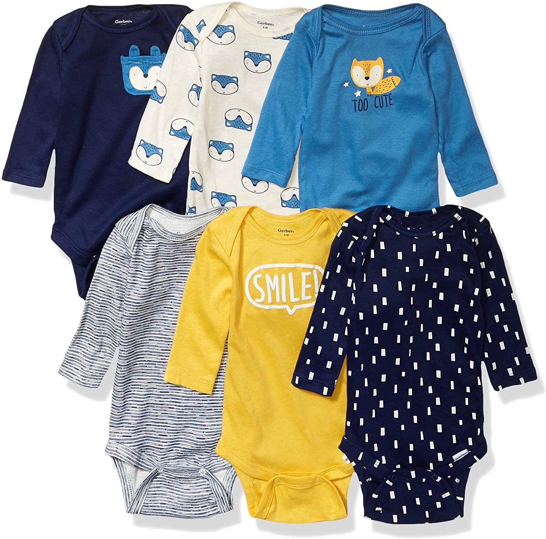 Unknown baby girls 6-pack Long-sleeve Onesies 6 Pack Long Sleeve Onesies Bodysuit