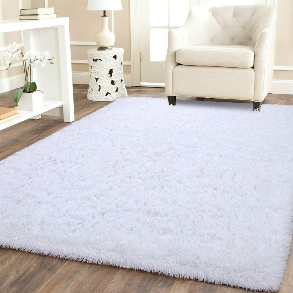 BENRON Soft Fluffy Area Rugs for Bedroom Kids Room Shag Furry Fur Rug for Living Room Boys Girls Modern Plush Nursery Rugs Solid Accent Floor Carpet, 4x6 Feet White