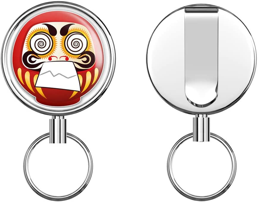 Daruma Doll Japan Gift Hypnotized Retractable Badge Holder Reel Metal ID Badge Holder with Belt Clip Key Ring for Name Card Keychain