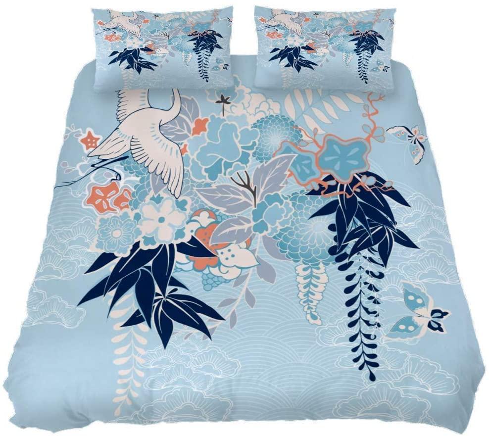 Japan Flower Butterfly Print Duvet Cover 3 Pieces Kids Bedroom Comforter Quilt Sheet Cover Queen Bedding Sets with Zipper,Black