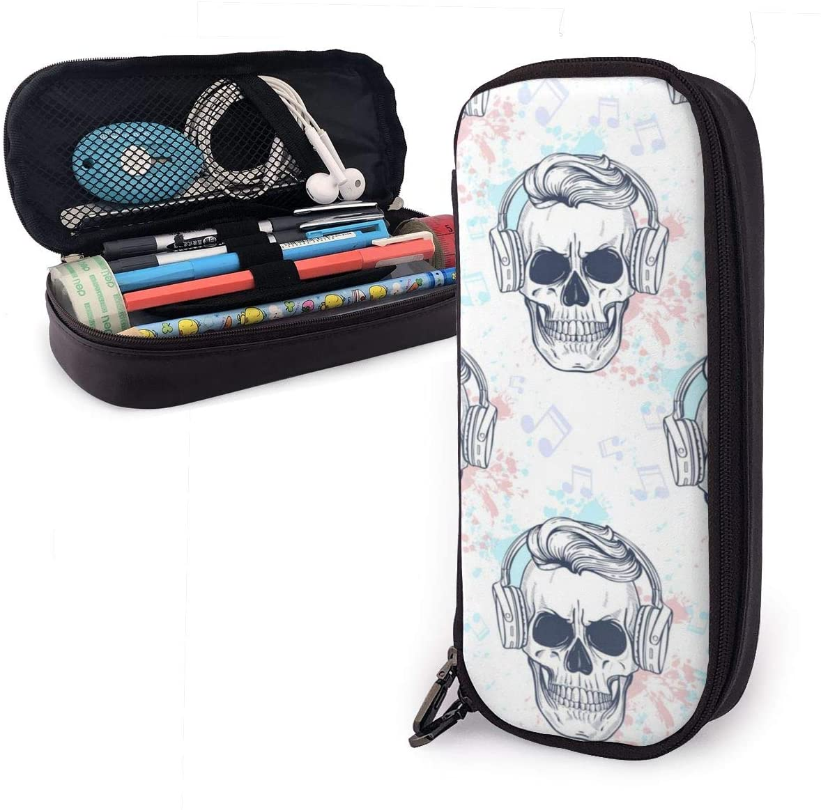 Pencil Case High Capacity Skull Pens Pencil Case with Zipper for School & Office Supplies Pencil Pouch Bag School Stationery Compact Cosmetic Bag