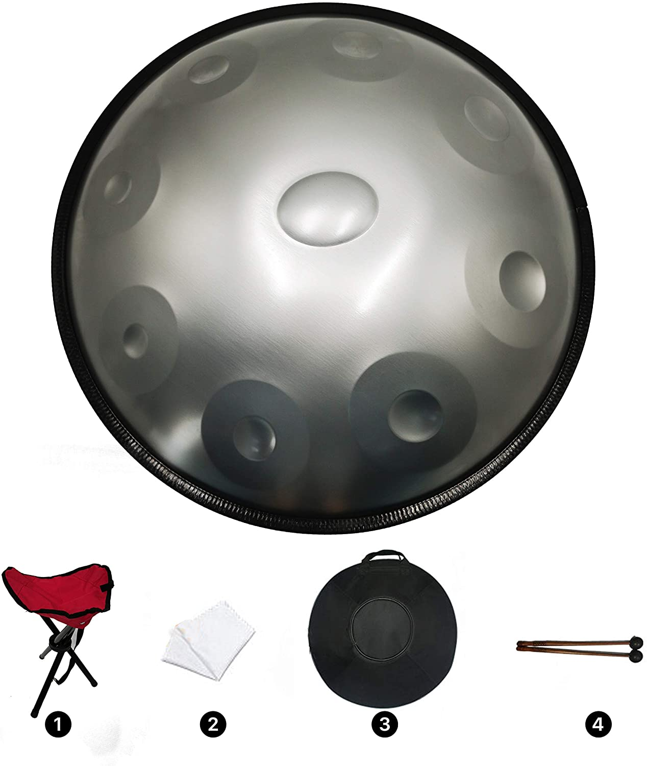 YueLing Handpan Drum Hand Steel Drum Percussion 432HZ 9 Notes in D Minor with Soft Case, Handpan Stand