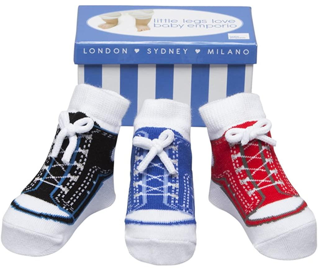 Baby Boy & Girl Socks that look like Shoes-Anti-slip-3 Pr-Cotton-Baby Shower Gift