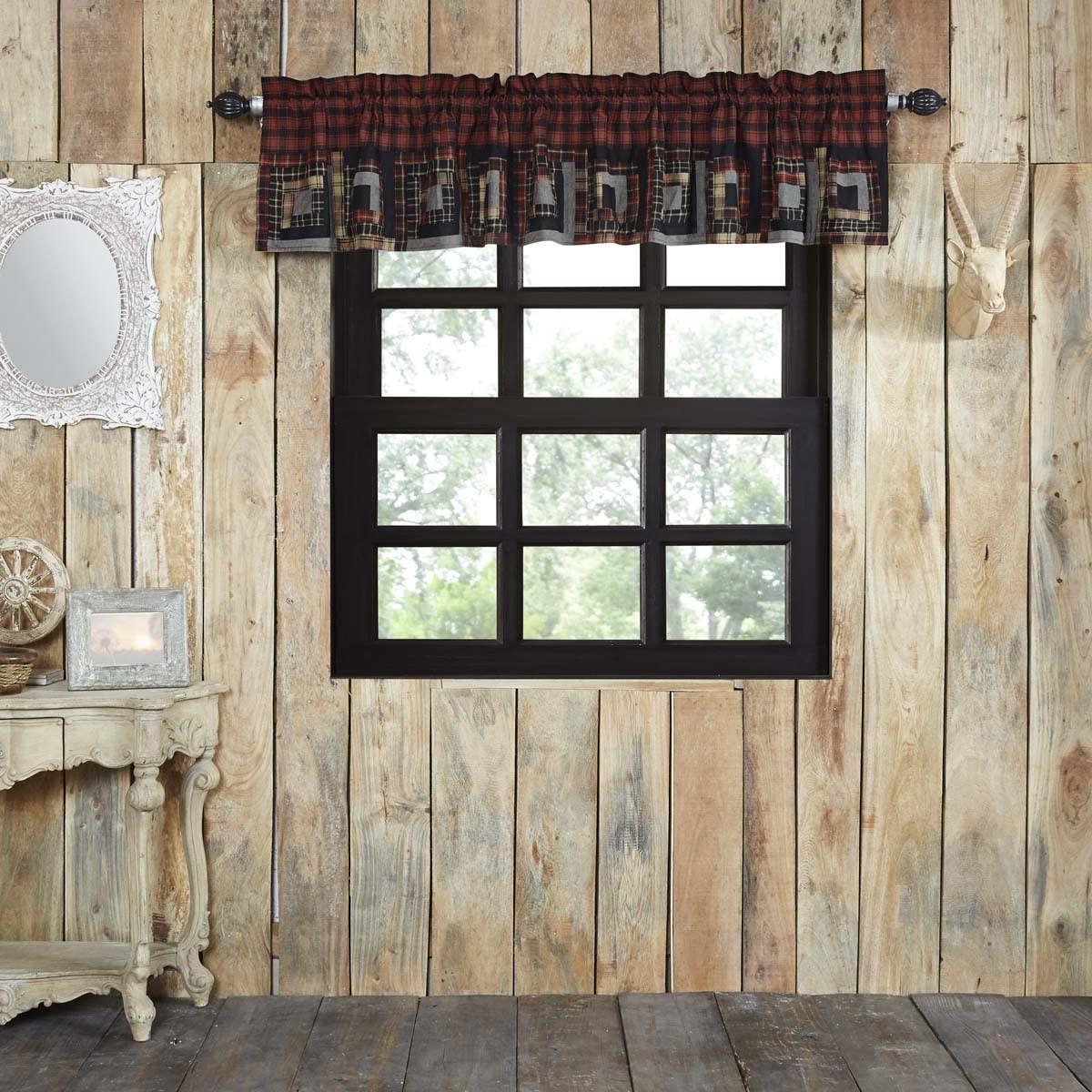 VHC Brands Rustic & Lodge Kitchen Window Cumberland Red Patchwork Curtain, Valance 16x90