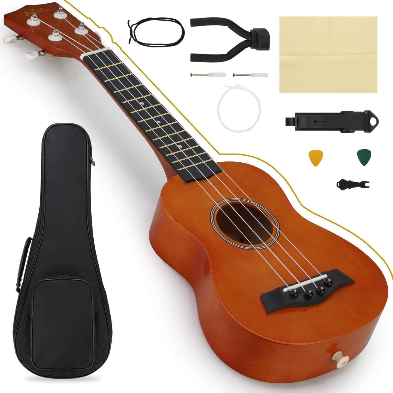 A&A Ukulele Soprano 21 inch Beginner Professional Wooden Ukelele Instrument Kit Bundle with Bag Strapr Picks Hanger and Polishing Cloth Orange