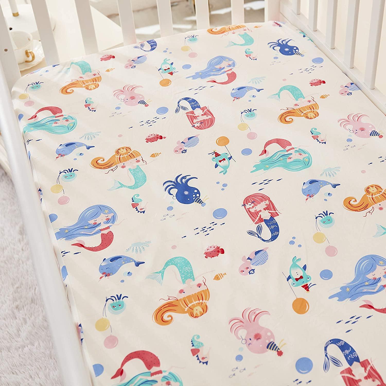 Brandream Mermaid Crib Sheet Set for Girl Pink Princess Fitted Crib Sheet Ocean Animal Nursery Baby Bedding Mattress Sheet, 100% Cotton