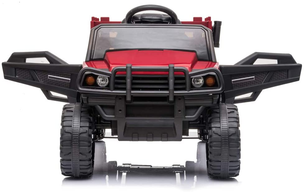 DealmerryUS Kids Electric Ride On Car Truck 12V Battery Powered Ride On Truck Remote Control Toy Baby Car Driving Trucks Cars with Seat Belt, 3 Speed Modes, MP3 Player, LED Lights and Horn(Red)