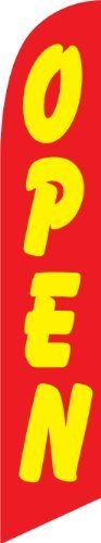 12ft x 2.5ft Open (red/yellow) Replacement Feather Swooper Banner Flag - FLAG ONLY - by Flags Importer