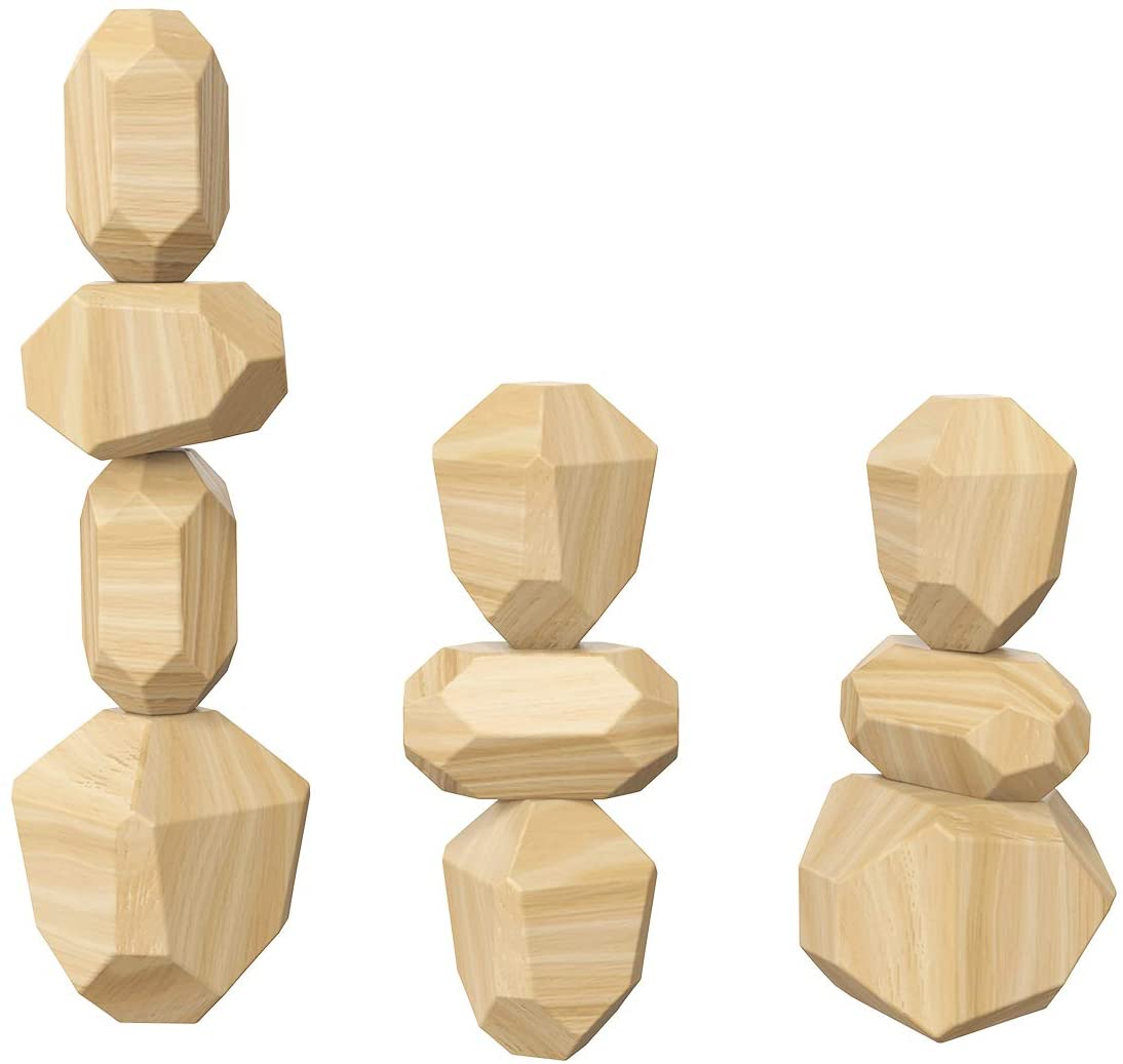 Owlike Wooden Stones Stacking Game Toy Set Lightweight Natural Balancing Blocks Colored Wooden Stones Educational Puzzle Toy for Children