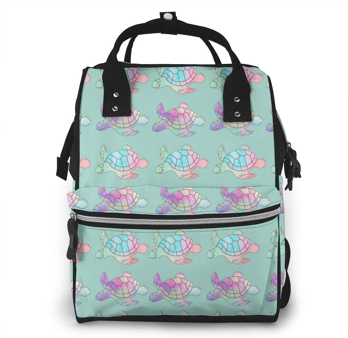 NiYoung Women Casual Zippers Large Capacity Backpack Mummy Bag Swim Diapers,Watercolor Sea Turtles Mint Green