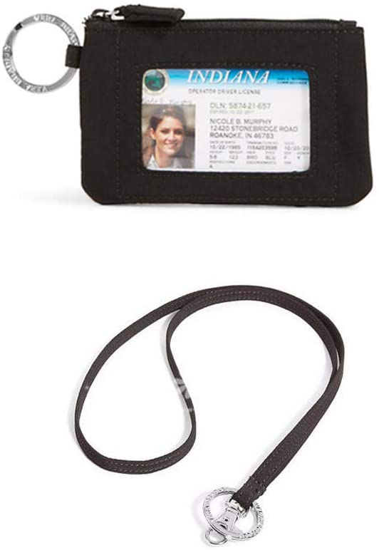 Zip Id Case and Lanyard in Classic Black
