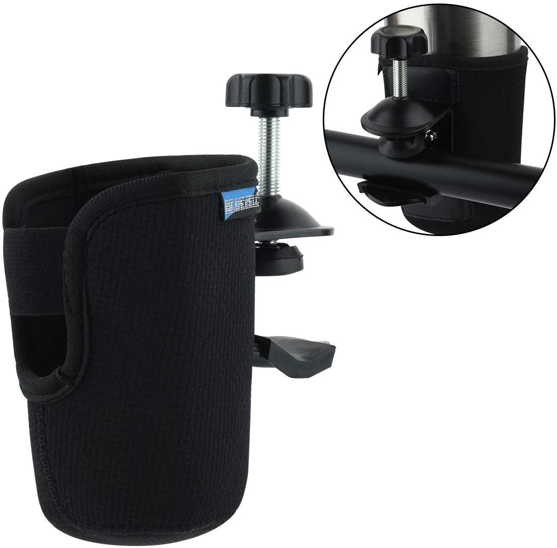 Bluecell World Black Color Neoprene Stroller Cup Holder, Universal Cup Holder, Collapsible Adjustable Bottle Holder for Stroller, Wheelchair, Walker, Trolleys, Shopping Cart (Small)
