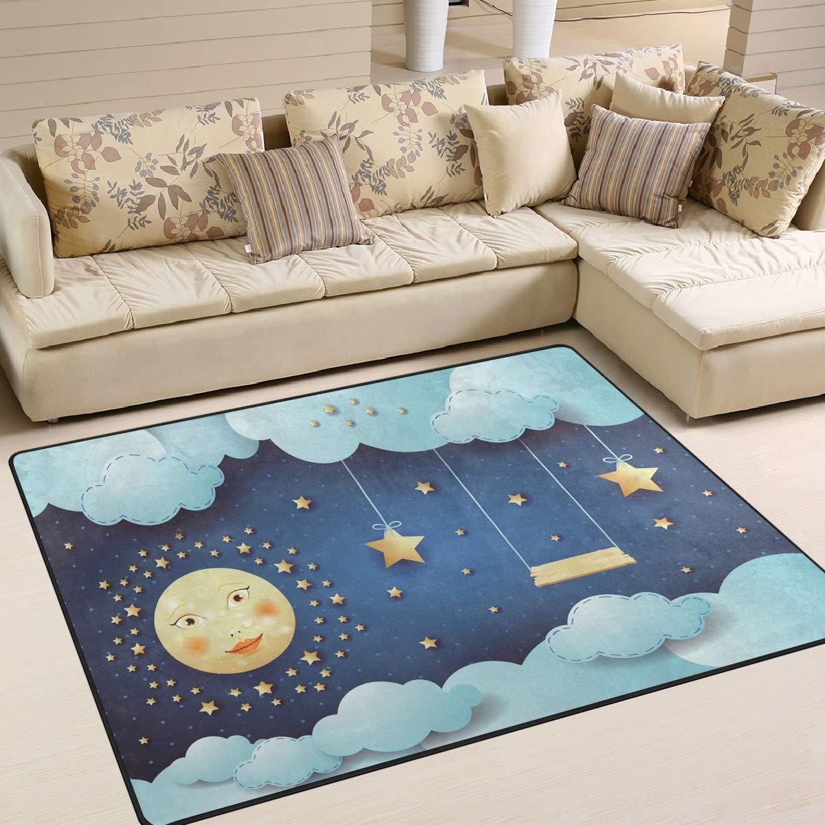 ALAZA Surreal Night with Full Moon Hanging Stars and Swing Indoor Modern Area Rug 4' x 5', Dining Room Home Bedroom Carpet Floor Mat Nursery Rug Room Mat