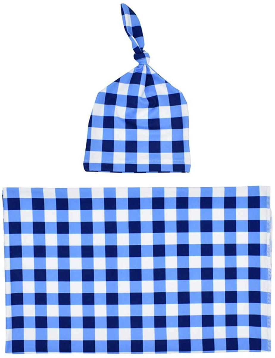 Baby Blanket and Hat Set, Baby Wrap and Hat Set, Plaid Receiving Blankets and Hat Set for Newborn Infants