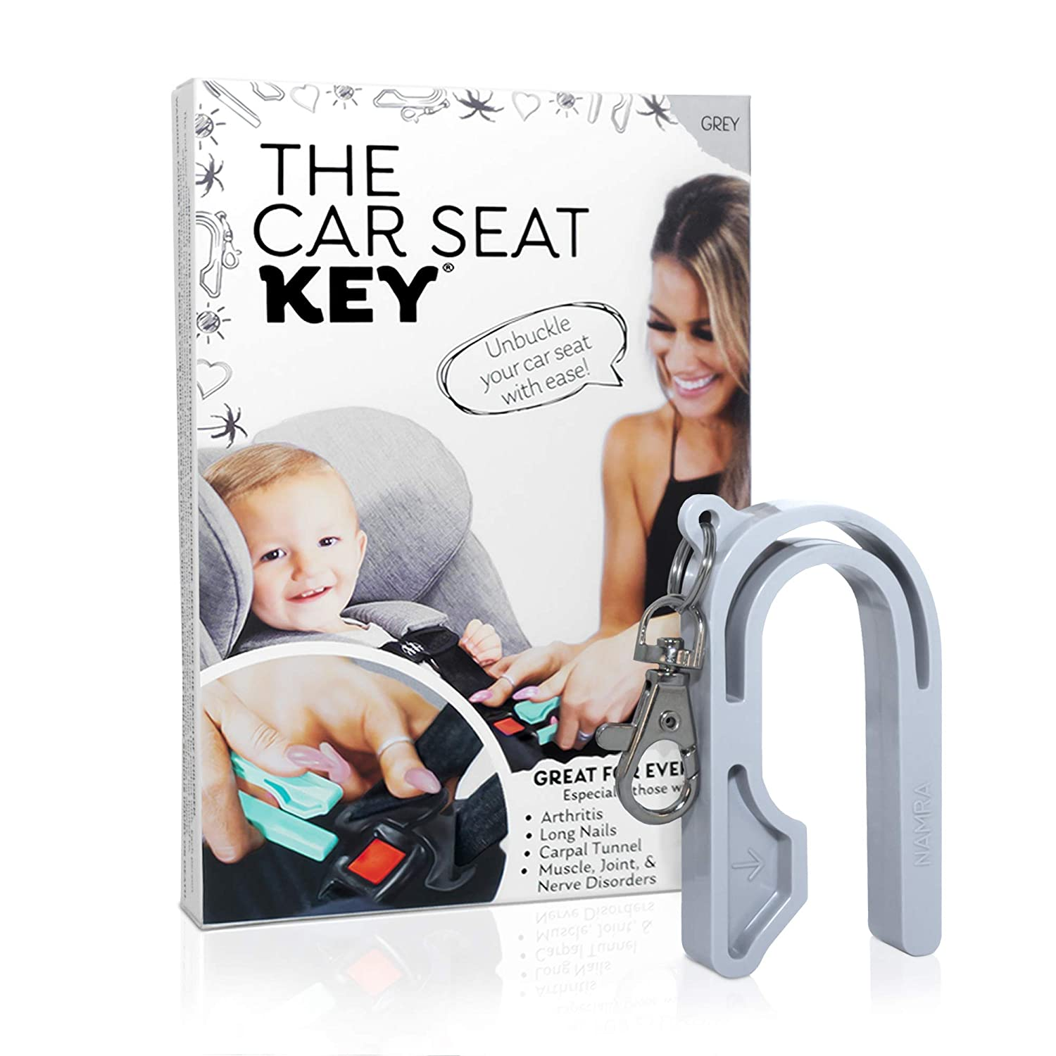 The Car Seat Key - Easy CAR SEAT UNBUCKLE by NAMRA Made in USA (Grey)