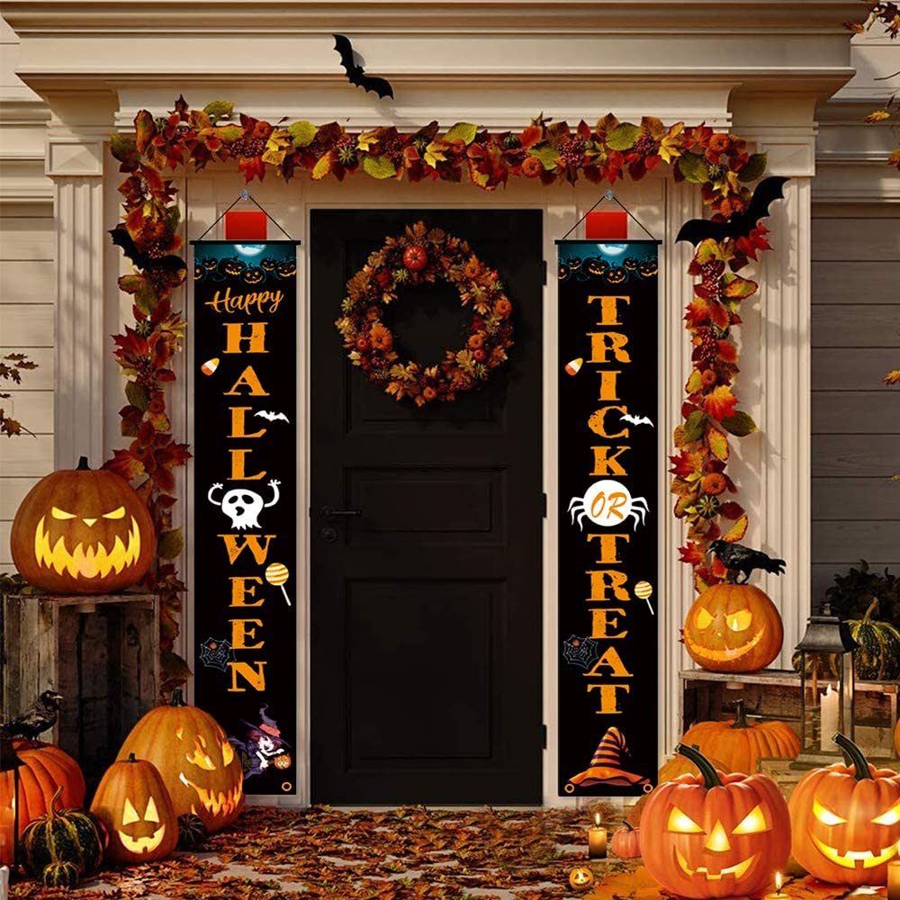 boenkj Trick Or Treat Banner,with Ghost Witch Evil Pumpkin Pattern Halloween Banner,Halloween Banners for Porch for Front Door Porch Yard Garden Party Decorations 12
