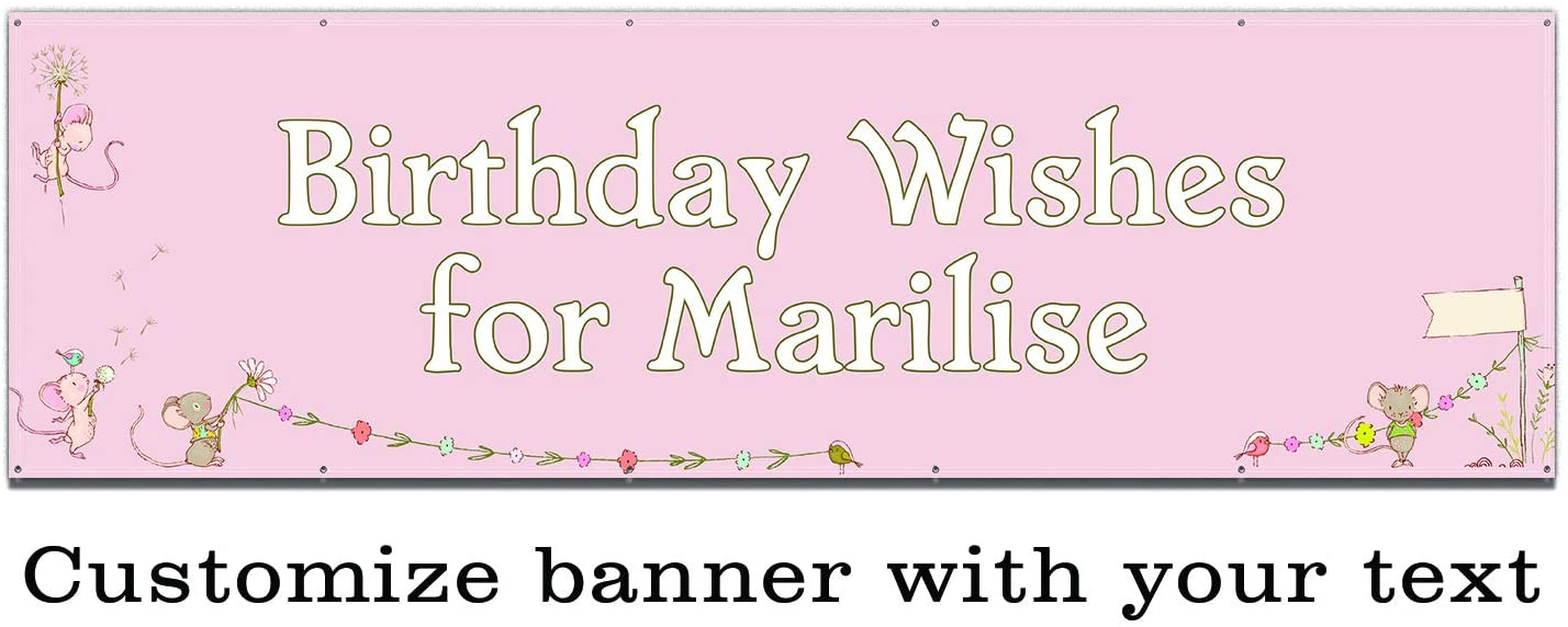 Buttonsmith Mice Wishes Custom Vinyl Banner 3'x10' - Indoor/Outdoor - Personalize with Your Text - Designed, Printed, and Assembled in USA